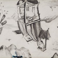 The Flight, 2009, pencil on watercolorpaper, 52 x 72 cm